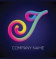 i letter logo icon blending color vector image