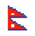 nepal flag pixel art cartoon retro game style set vector image