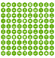 100 coherence icons hexagon green vector image vector image