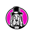 basset hound monocle top hat vector image vector image