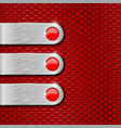 blank metal plates on red perforated background vector image vector image