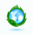 blue earth with green leaves vector image vector image