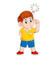 boy thinking and get bright idea vector image