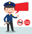 Cartoon police officer Policeman stop crime vector image