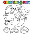 coloring book with mermaid vector image