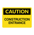 construction entrance caution warning symbol vector image