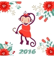 Cute card with cute funny monkey character vector image vector image