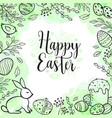 Easter greeting card with eggs and rabbit