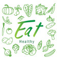 eat healthy green fruit vegetable white background vector image vector image