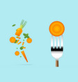 fresh carrot on fork with flying carrots vector image