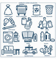 garbage or wastes trash line icons set vector image vector image