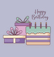 gift boxes with sweet cake vector image vector image