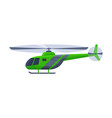 green helicopter aircraft flying chopper air vector image vector image