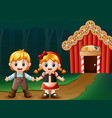 hansel and gretel outside of house vector image vector image