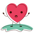 heart character kawaii in surprised expression in vector image