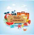 hello summer time travel season banner design and vector image