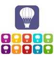 hot air balloon with basket icons set flat vector image vector image