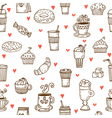 i love coffee hand drawn seamless pattern vector image vector image