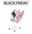 Inflatable Boat and Surfboards in Black Friday vector image