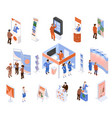 isometric exhibition set vector image vector image