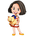 Little girl and her pet cat vector image vector image