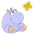 Lovely cartoon hippopotamus and butterfly