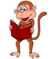 Monkey cartoon reading book vector image vector image
