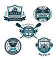 nautical heraldic icons of seafarer sailing vector image vector image
