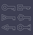 outline icons keys set isolated on dark vector image