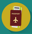 passport and boarding pass ticket icon vector image