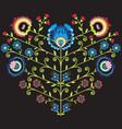 Polish folk floral pattern in heart shape on black vector image vector image