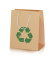 recycling paper bag of recycled vector image vector image