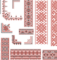 Red and Black Patterns for Embroidery Stitch vector image vector image