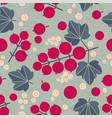 ripe red currant seamless pattern leaves flowers s vector image vector image