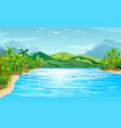 river scene with trees and mountains vector image vector image