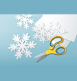 scissors and paper snowflakes vector image vector image