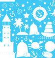 Seamless pattern white sea icon on blue background vector image vector image