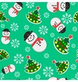 Seamless Snowman And Christmas Trees vector image