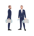 set bearded man dressed in smart suit holding vector image vector image