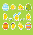 set of easter stickers with chicks eggs vector image vector image