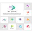 set of fast play logo design concept play tech vector image vector image