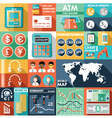 Set of flat design icons with financial infographi vector image vector image