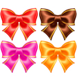 Silk bows in warm colors with golden edging