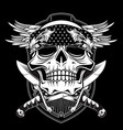 skull wing with sword hand drawing vector image