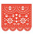 skulls papel picado design mexican pattern vector image vector image