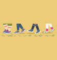sneakers and legs trendy male and female feet in vector image