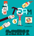 team building design with people and mobile vector image vector image