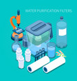 water purification filters isometric composition vector image vector image