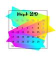 2019 calendar design concept march 2019 vector image vector image