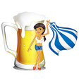 A girl holding the flag of Greece in front of a vector image vector image